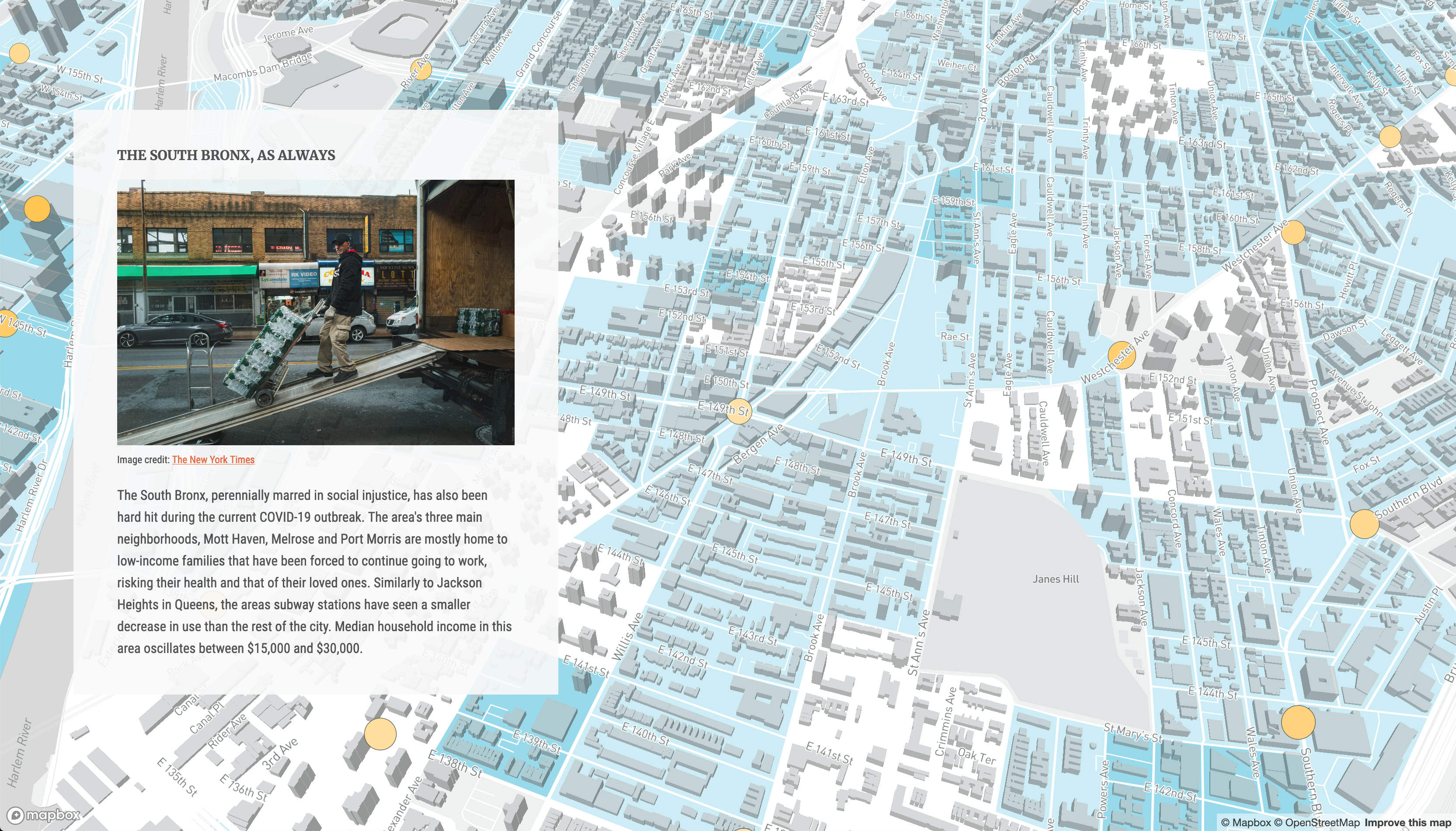Screen shot of story map